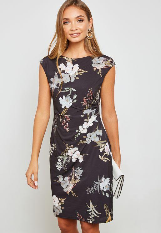 Floral Side Ruched Dress