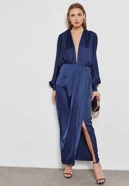 Wrap Front Drape Dress