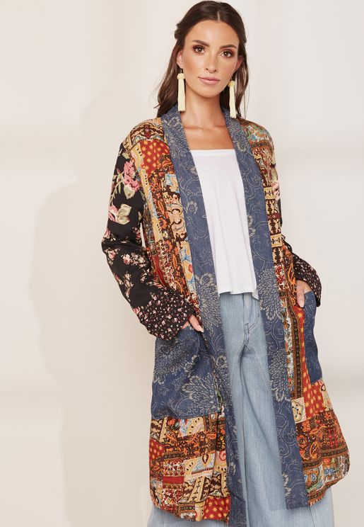 Embroidered Long Line Coat