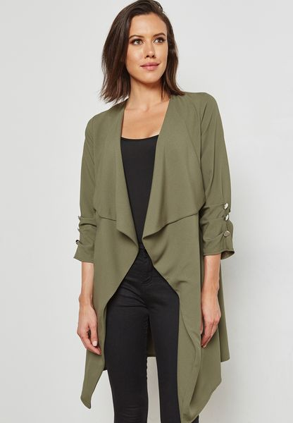 Button Cuff Duster Coat