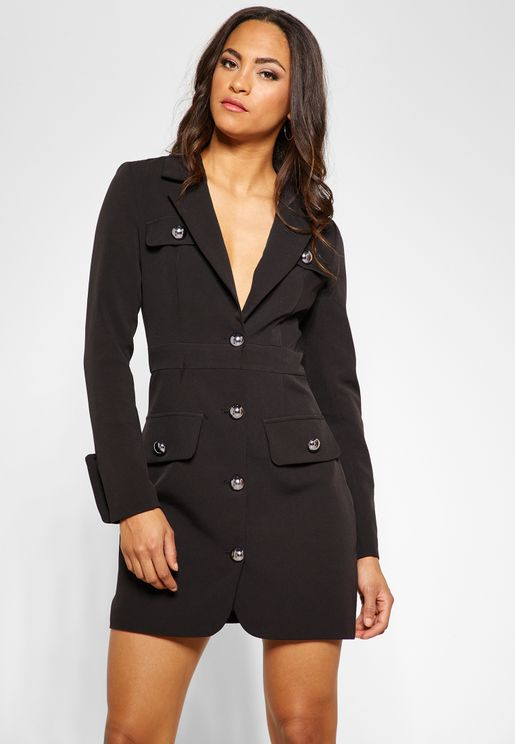 Military Button Blazer Dress