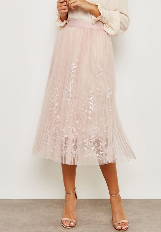 Embroidered Tulle Mesh Overlay Skirt