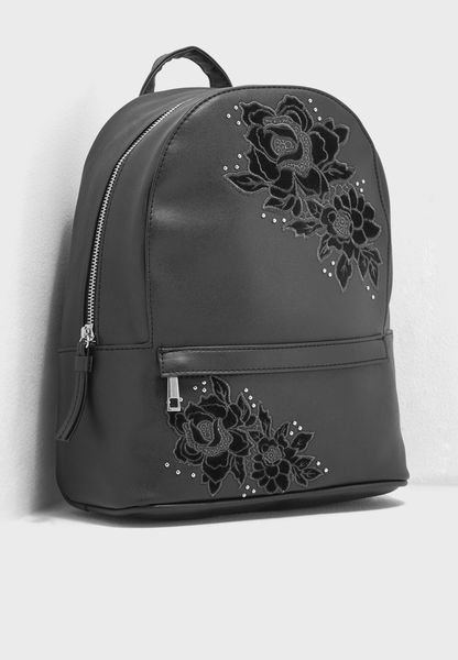Rose Embroidered Studded Backpack
