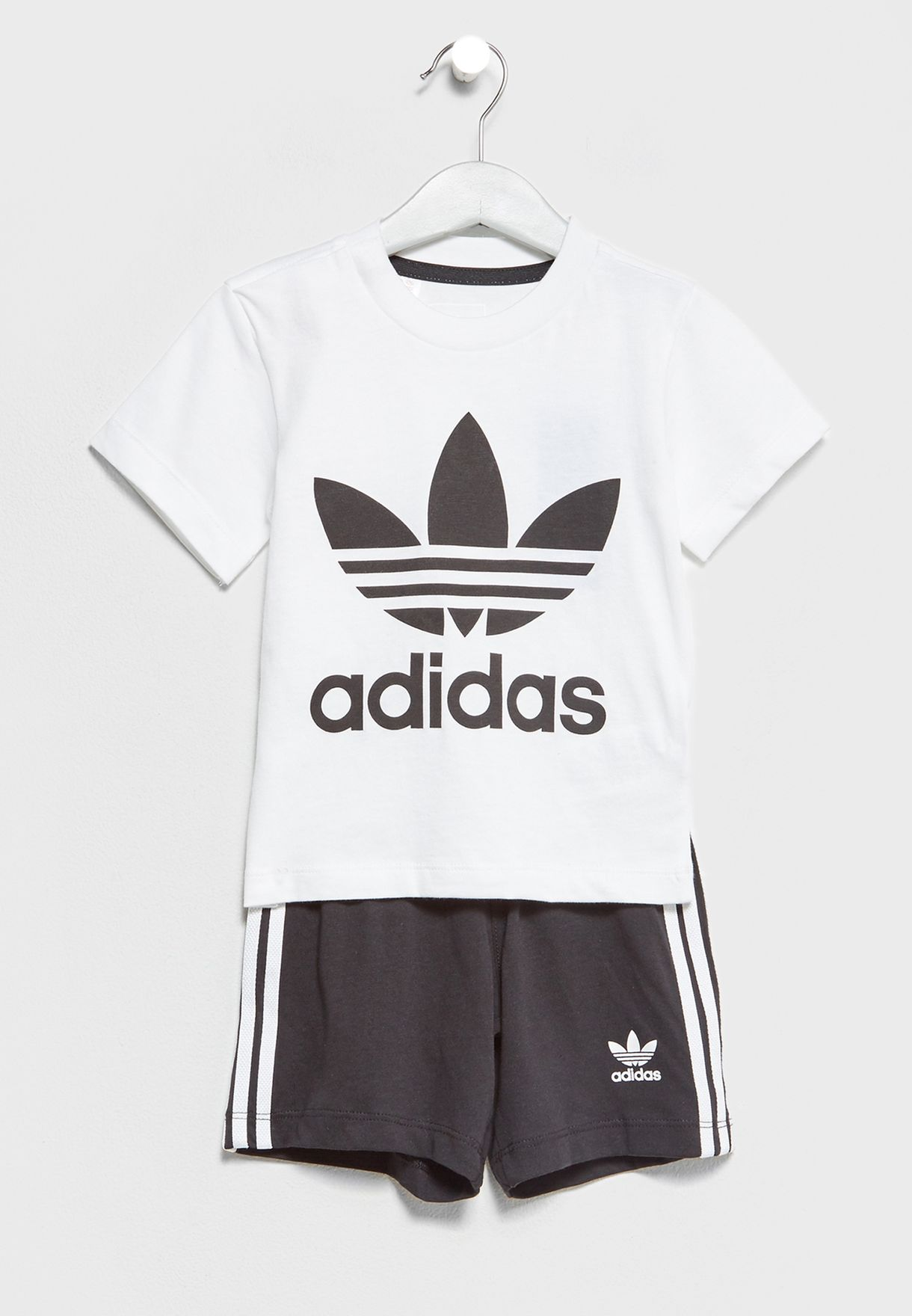 309a111d650 Shop adidas Originals monochrome Infant Trefoil T-Shirt+Shorts Set ...