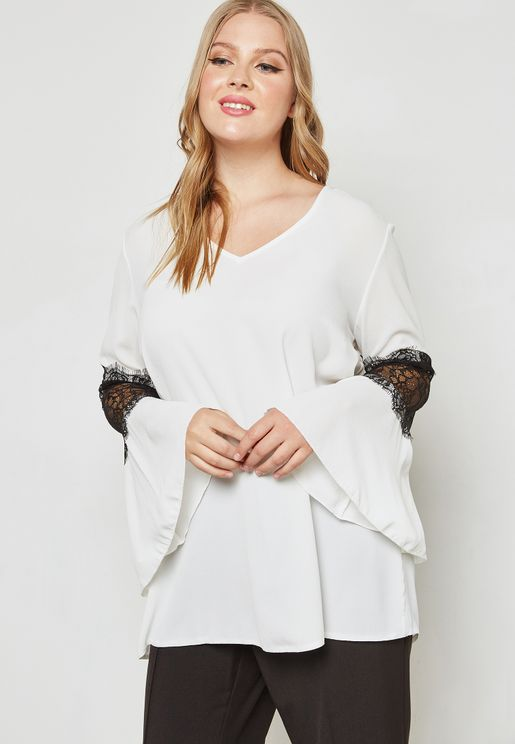Lace Insert Ruffle Sleeve Top