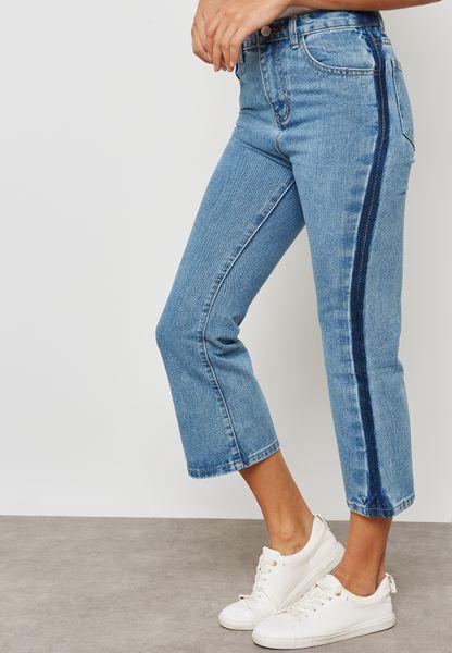 Contrast Side Boyfriend Jeans