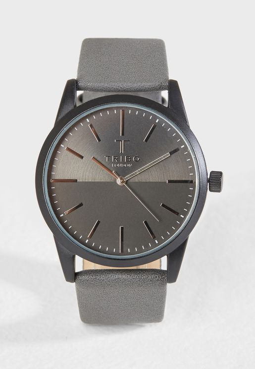 Faux Leather Strap Casual Watch