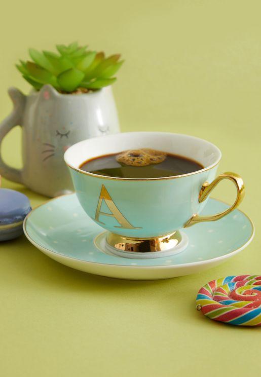 A Alphabet Spotty Teacup And Saucer