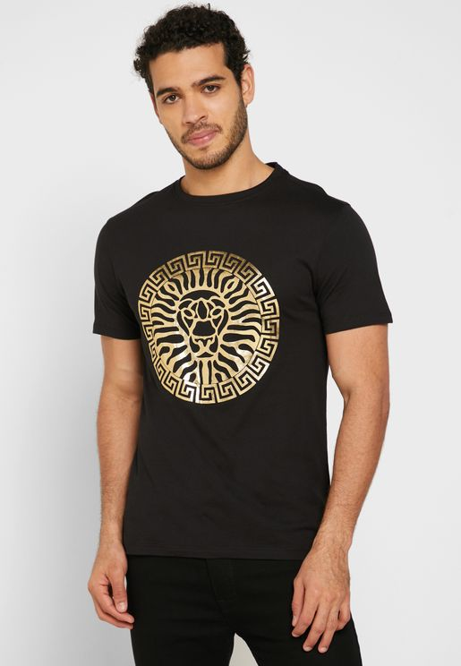 Gold Lion Print Crew Neck T-Shirt