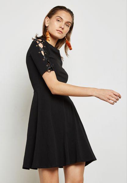 Eyelet Detail Skater Dress