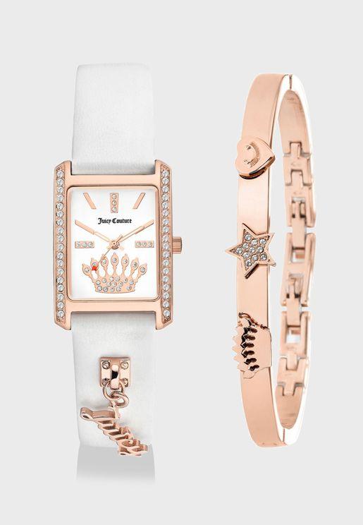 Leather Strap Watch & Bracelet Set