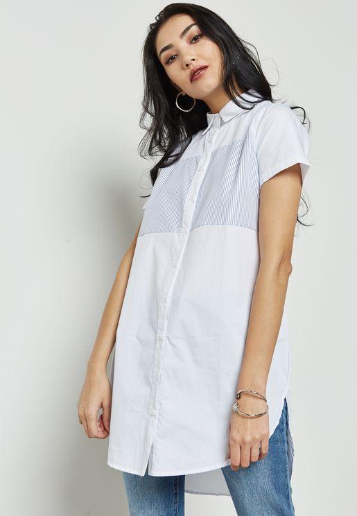 Contrast Yoke Shirt Dress