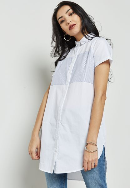 Contrast Yoke Shirt Dress