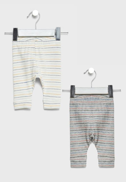 Infant 2 Pack Striped Leggings