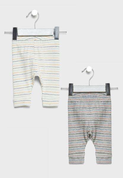 Infant 2 Pack Striped Leggings