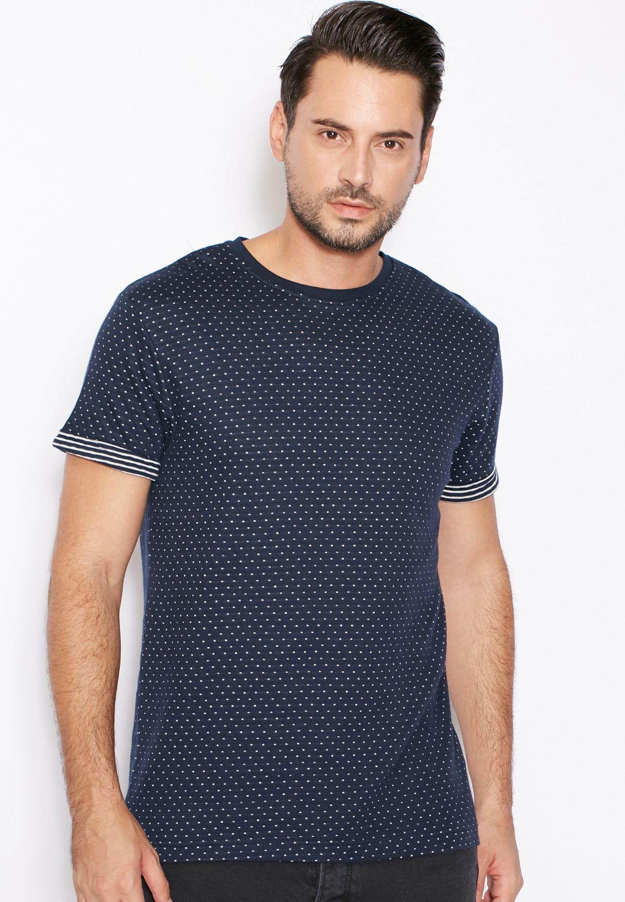 6ec4efdac9e3 Shop D Struct navy Dot Print T-Shirt for Men in Bahrain - DS219AT76YEL