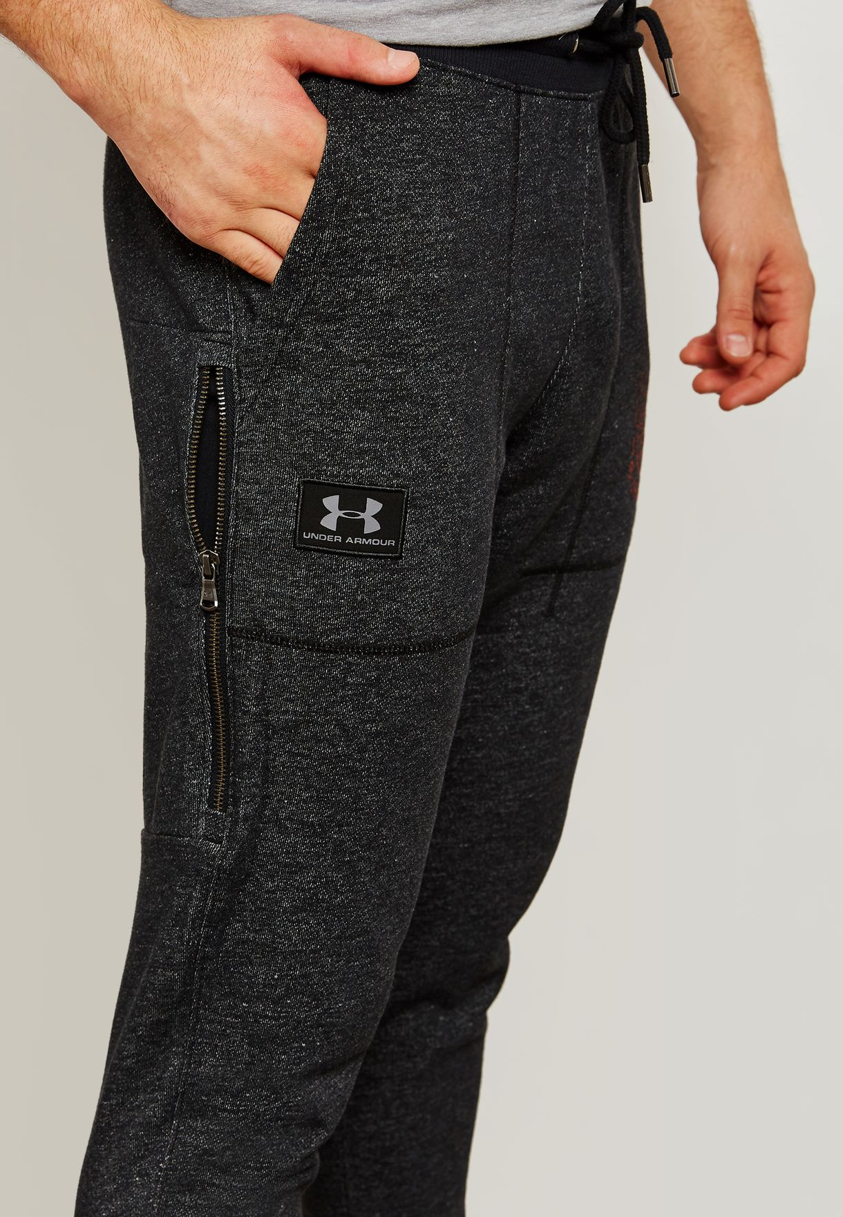 e034761aba32b9 Shop Under Armour black Project Rock Chase Greatness Sweatpants ...