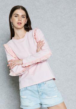 Ruffle Detail Sweatshirt