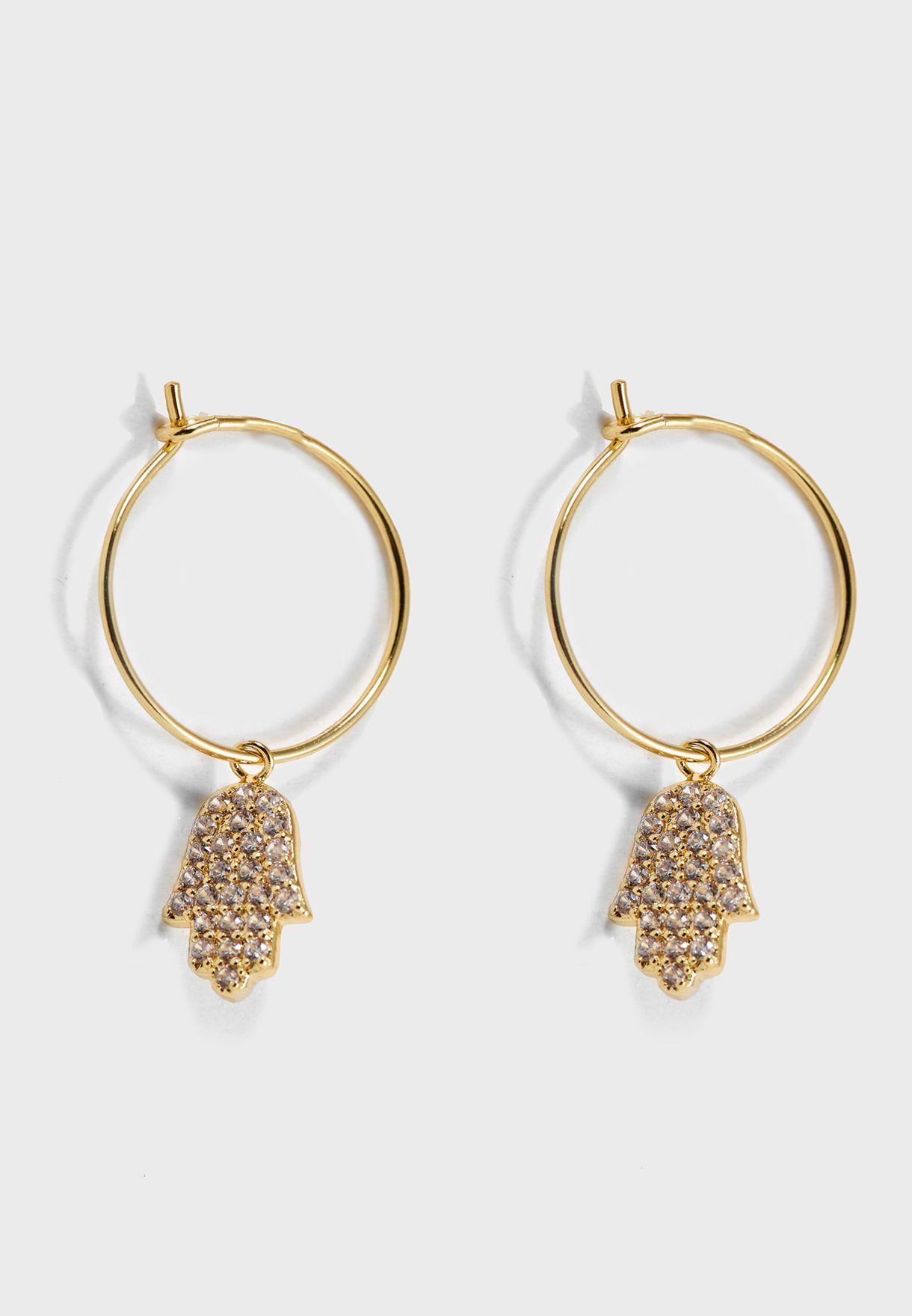38fab0e2d Shop Orelia London gold Pave Hamza Drop Hoops ORE23309 for Women in ...