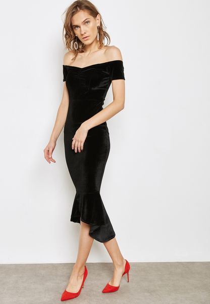 Ruffle Hem Bardot Velvet Dress