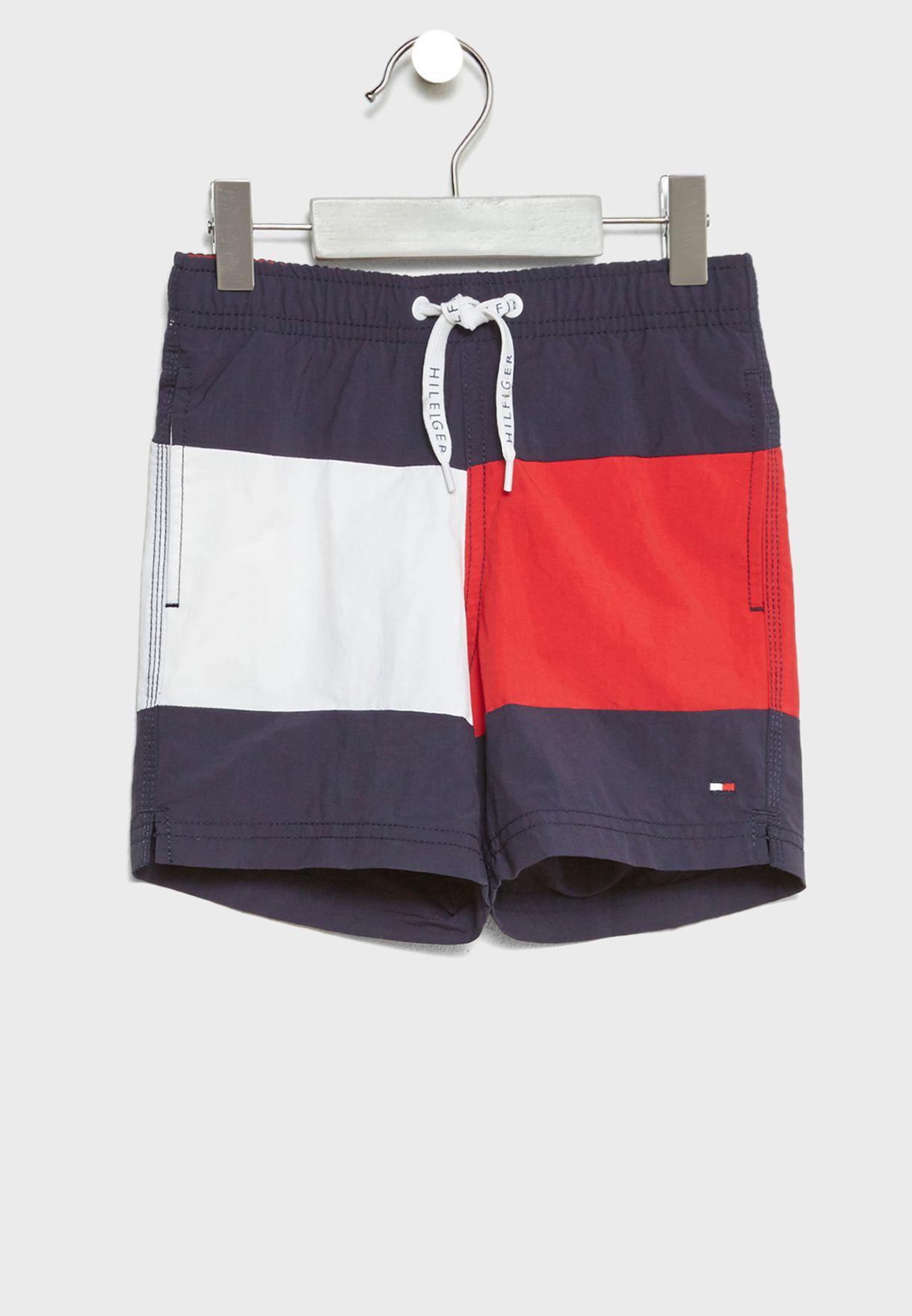 f988329c1ac95 Shop Tommy Hilfiger multicolor Little Color Block Swim Shorts ...