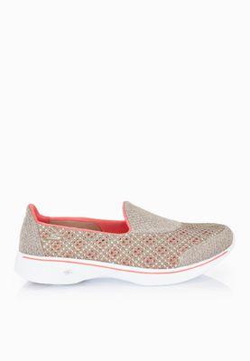 shop skechers beige go walk 4 kindle comfort shoes 14145