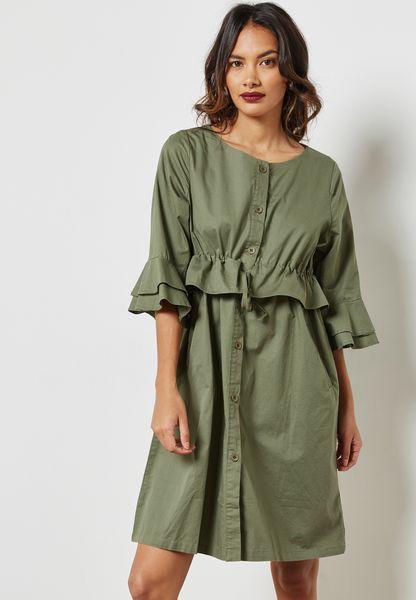 Ruffle Paneled Shirt Dress
