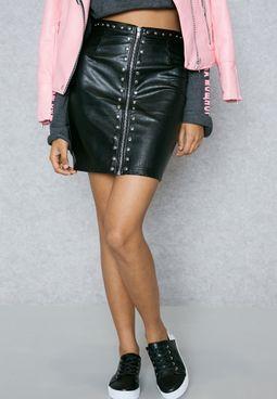 Zip Detail Stud Skirt