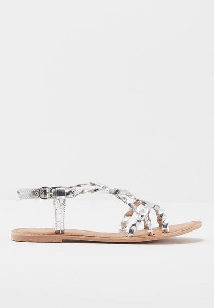 Metallic Braided Sandals