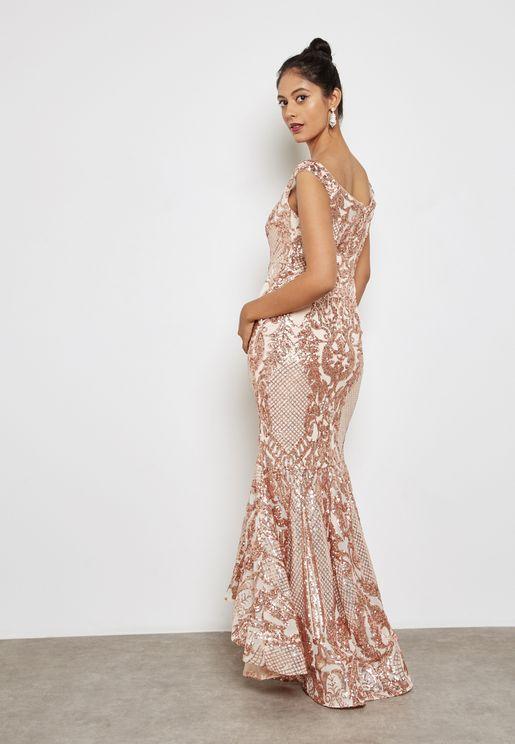 Sequin Bardot Maxi Dress