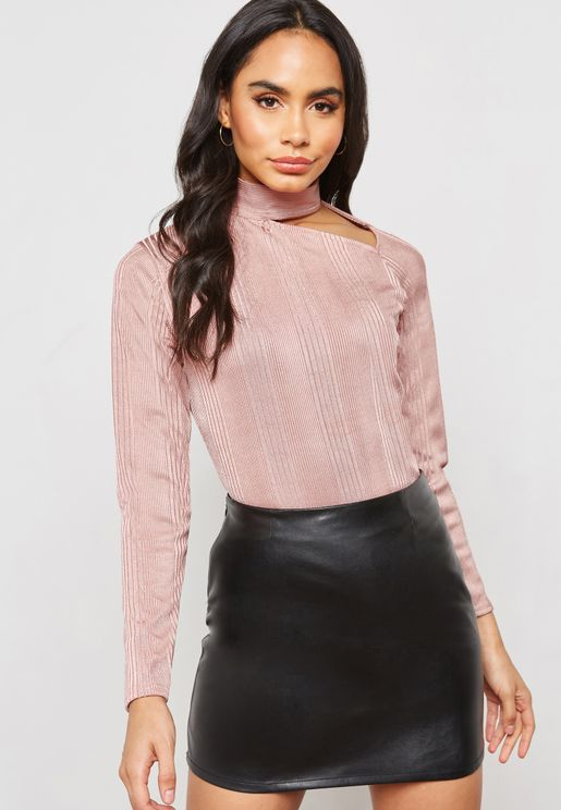 Long Sleeve Polo Neck Cut Out Top