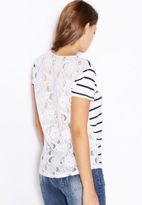 Ginger Striped Lace Back Top