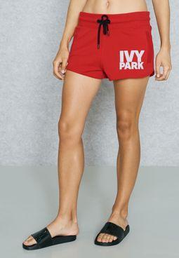 Tie Waist Logo Shorts