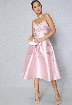 Floral Detail Bandeau Dress