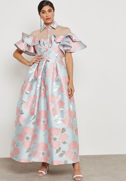 Ruffle Jacquard Dress