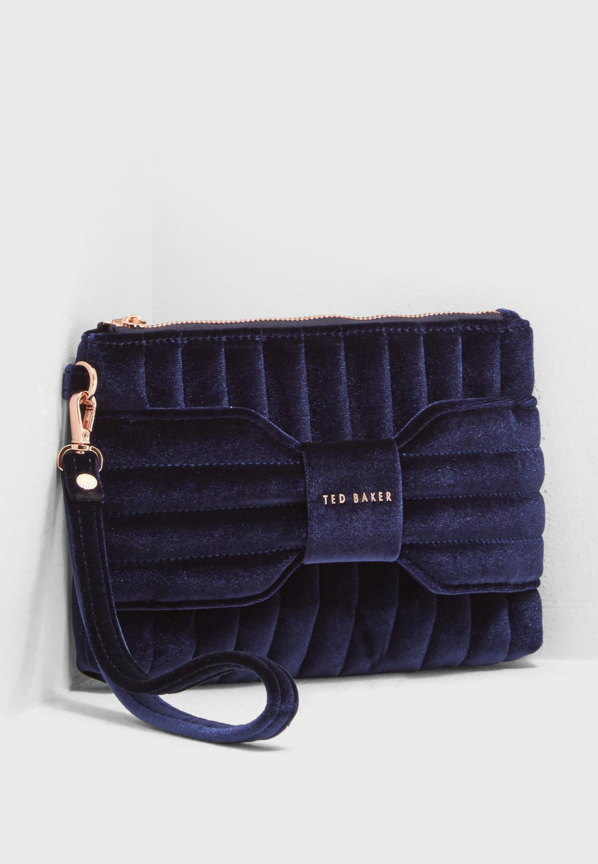 aef48256cea6 Shop Ted baker navy Junie Bow Clutch 149016 for Women in Oman ...