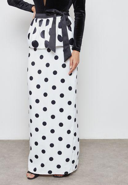 Polka Dot Ruffle Tie Maxi Skirt
