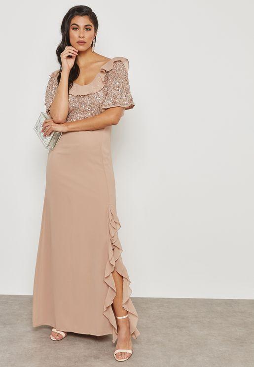 Embellished Ruffle Detail Dress