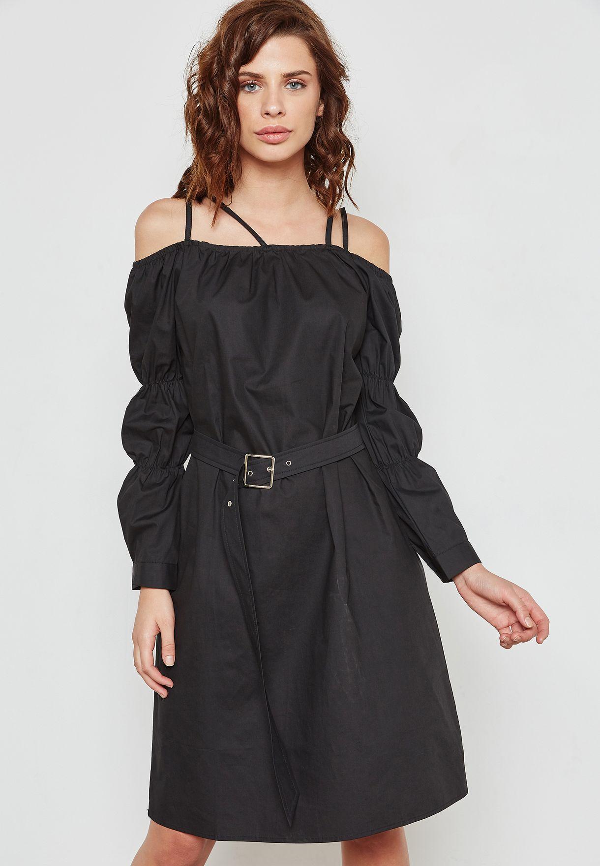 Cold Shoulder Belted Detail Midi Dress
