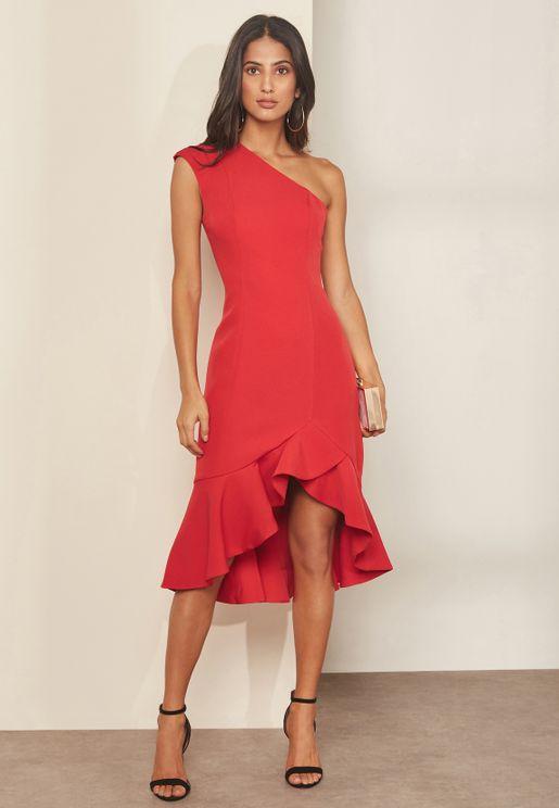 One Shoulder Ruffle Hem Dress