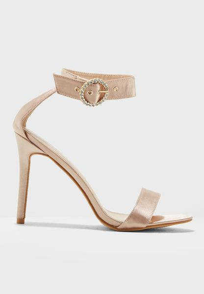 Satin Embellished Buckle Ankle Strap Heel