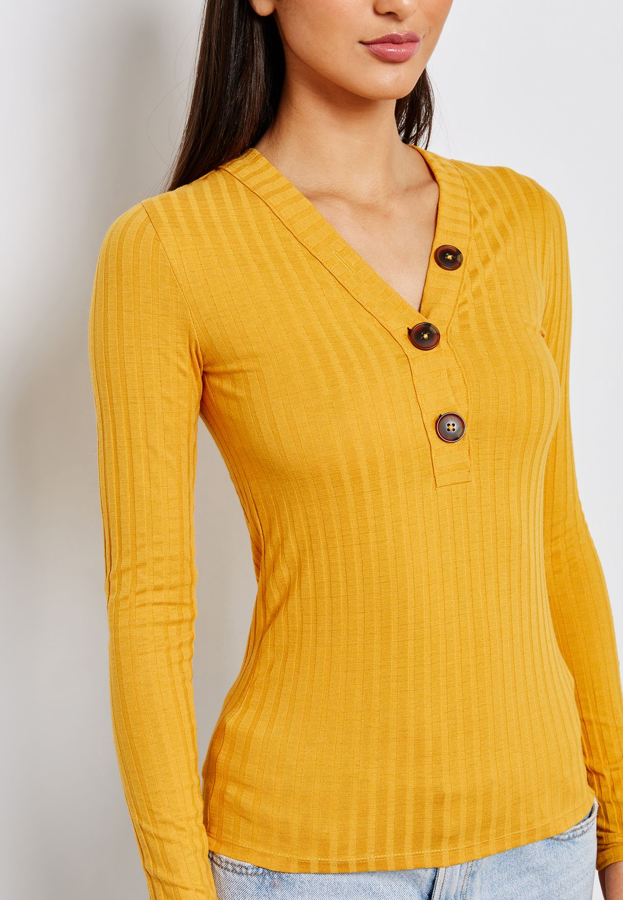 Button Detail V-neck Top