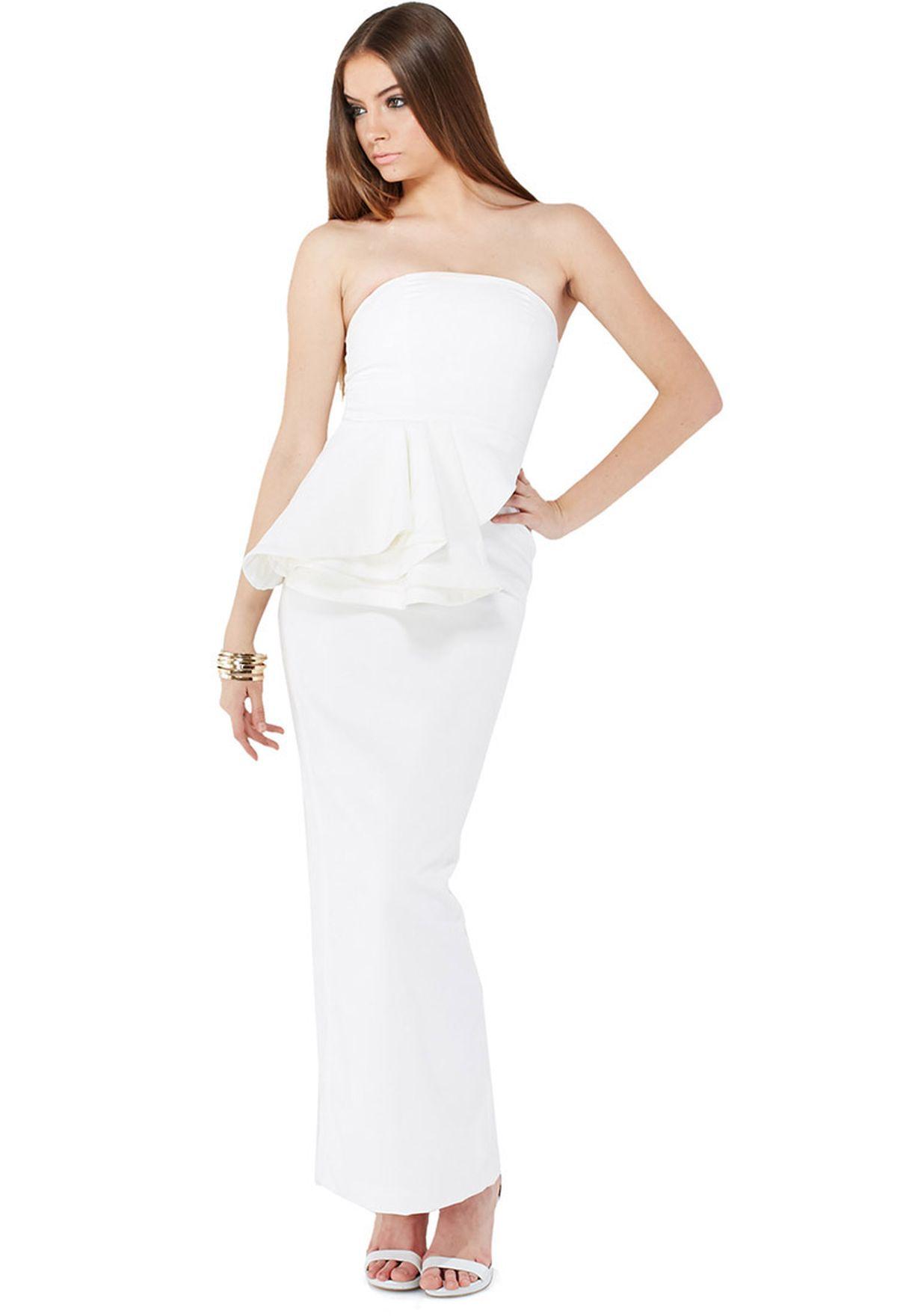 4e8f9eb0eea1 Shop Aqua By Aqua white Sash Structured Peplum Dress for Women in ...