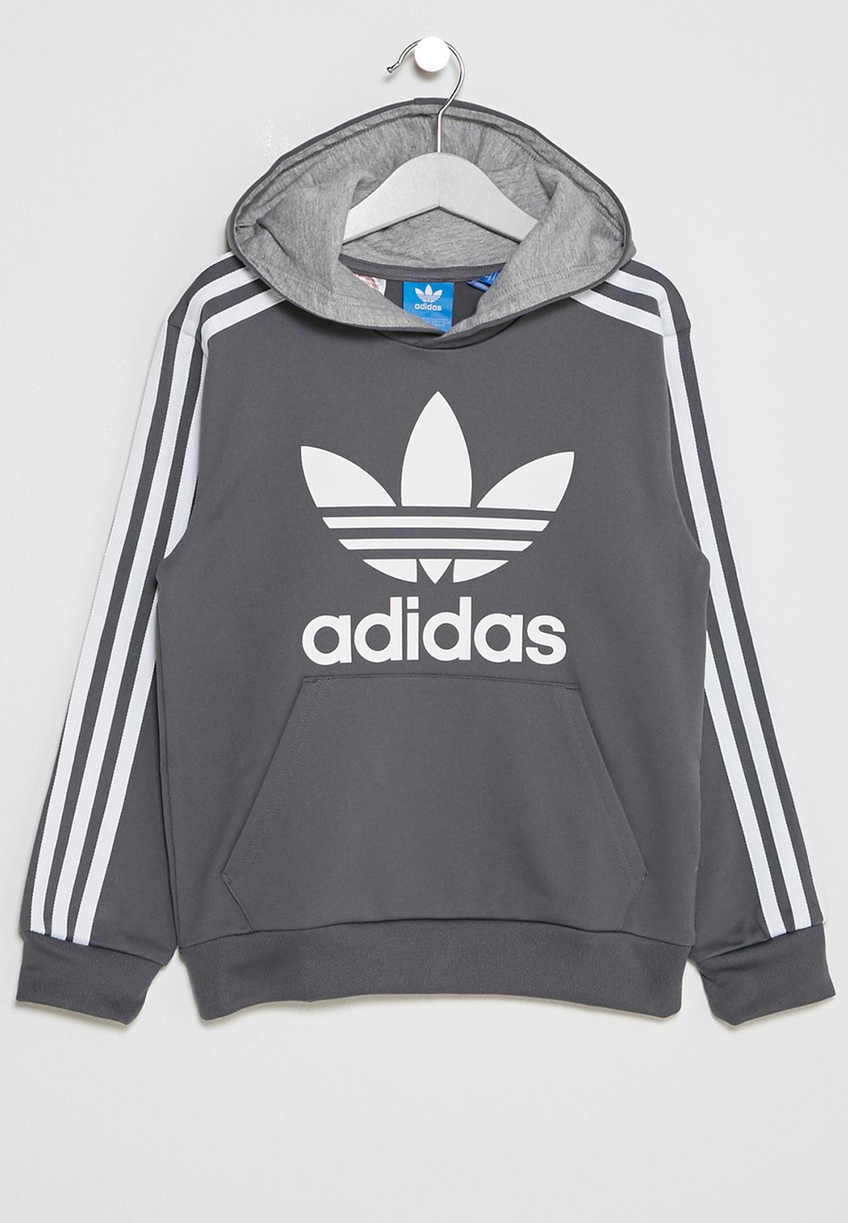 0d73aaee1fb7 Shop adidas Originals grey Youth Trefoil Hoodie BQ3927 for Kids in ...