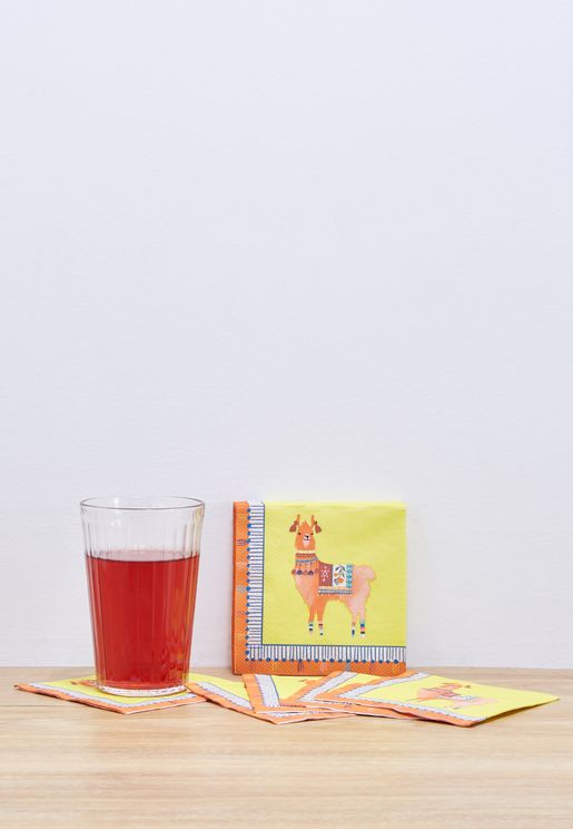 20 Pack Boho Mix Llama Cocktail Napkin