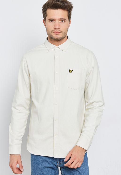 قميص سادة بشعار الماركة