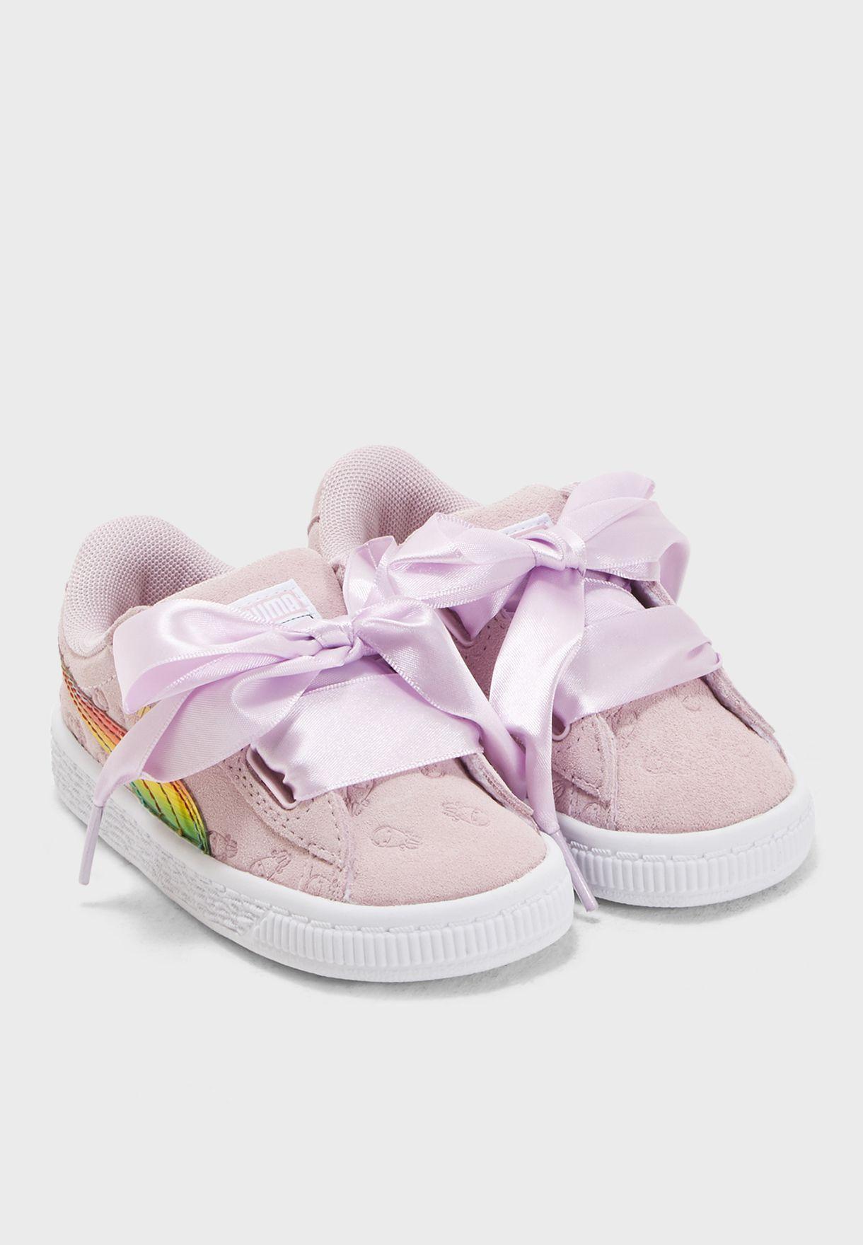 52549385743 Shop PUMA purple Infant Minions Suede Heart Fluffy 36664601 for Kids ...