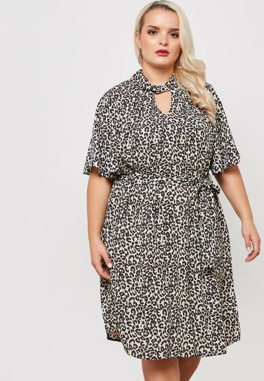 Animal Print Twist Skater Dress