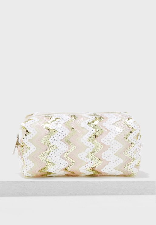 Zig Zag Sequin Cosmetic Bag
