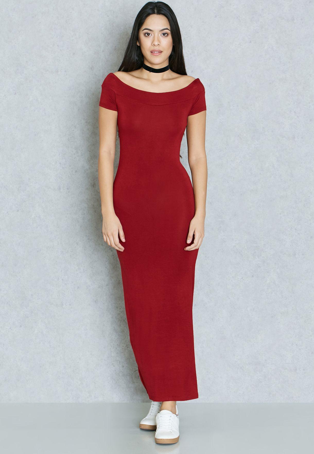 4156ad5b9b9 Shop Ginger Basics red Bardot Maxi Dress for Women in Qatar ...